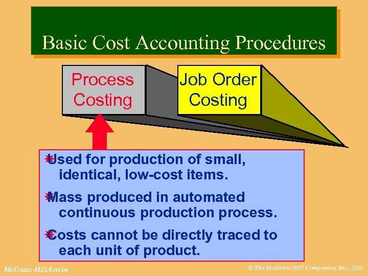 Basic Cost Accounting Procedures Process Costing Job Order Costing Used for production of small,