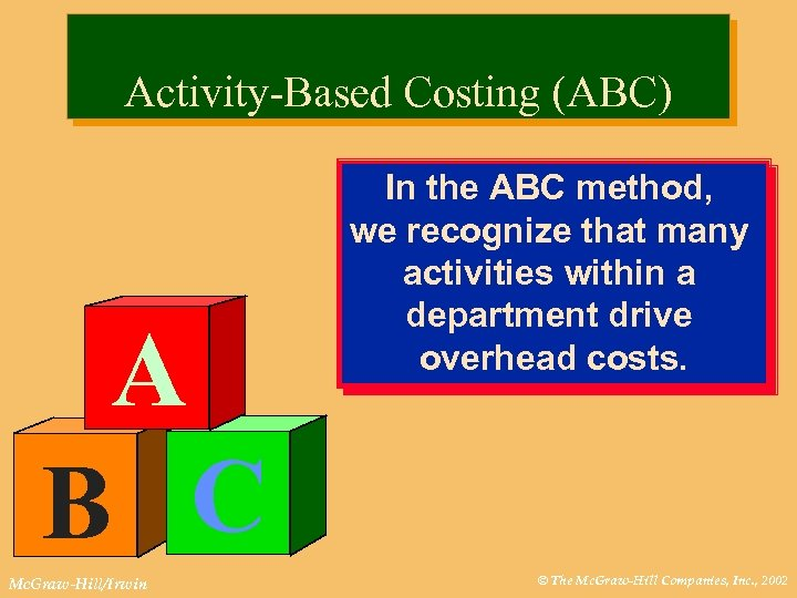 Activity-Based Costing (ABC) A B C Mc. Graw-Hill/Irwin In the ABC method, we recognize