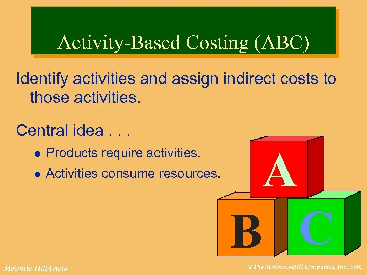 Activity-Based Costing (ABC) Identify activities and assign indirect costs to those activities. Central idea.
