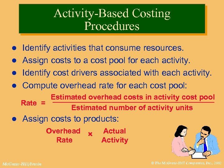 Activity-Based Costing Procedures Identify activities that consume resources. l Assign costs to a cost