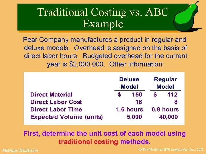 Traditional Costing vs. ABC Example Pear Company manufactures a product in regular and deluxe