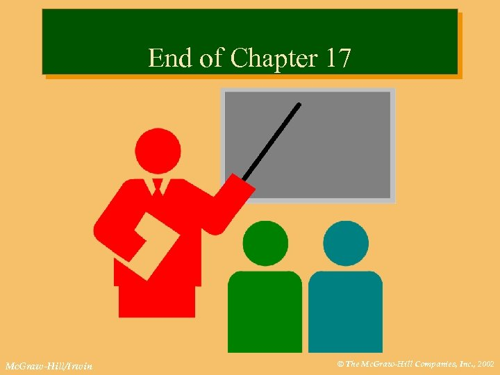 End of Chapter 17 Mc. Graw-Hill/Irwin © The Mc. Graw-Hill Companies, Inc. , 2002
