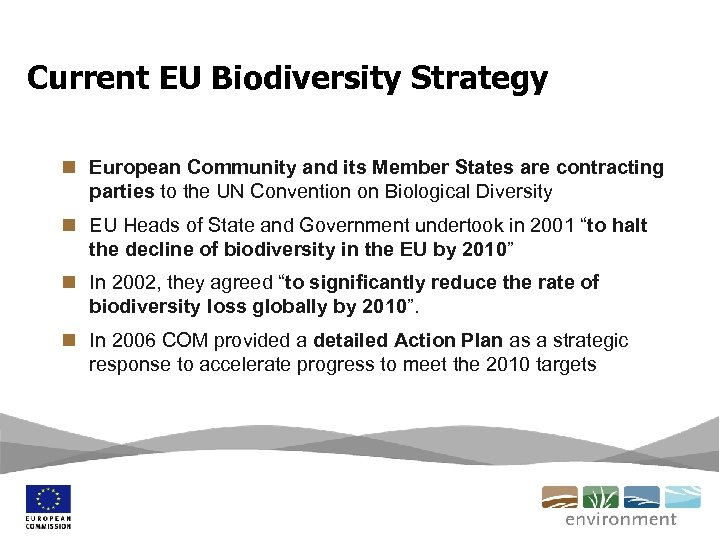 Current EU Biodiversity Strategy n European Community and its Member States are contracting parties