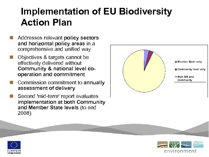 Implementation of EU Biodiversity Action Plan n Addresses relevant policy sectors and horizontal policy