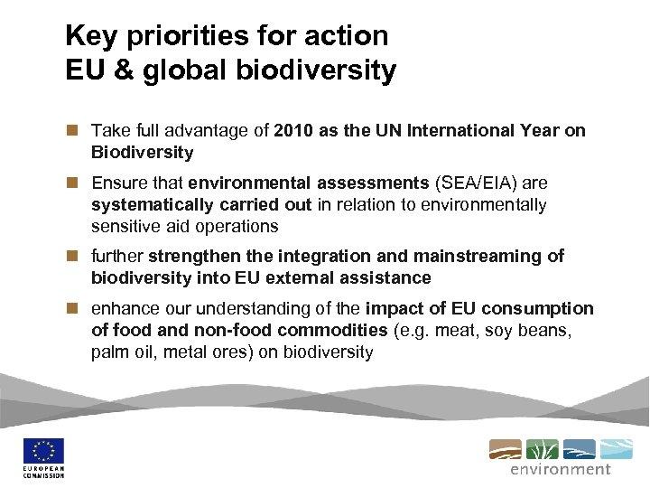 Key priorities for action EU & global biodiversity n Take full advantage of 2010