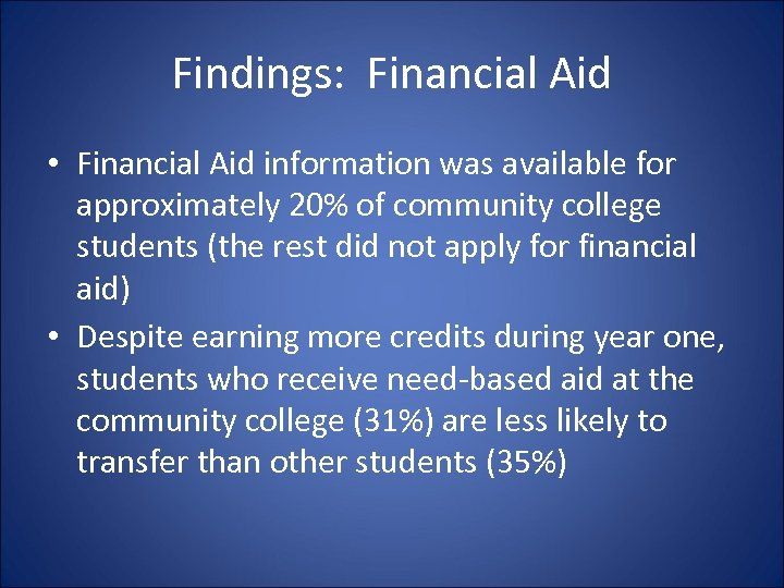 Findings: Financial Aid • Financial Aid information was available for approximately 20% of community