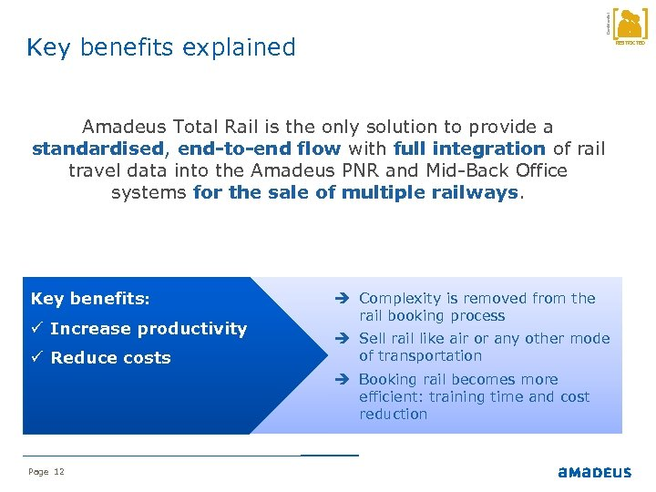 Confidential Key benefits explained RESTRICTED Amadeus Total Rail is the only solution to provide