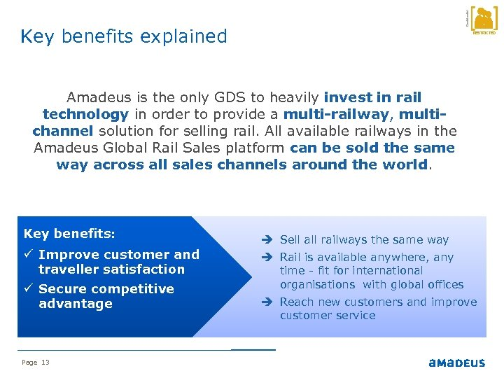 Confidential Key benefits explained RESTRICTED Amadeus is the only GDS to heavily invest in