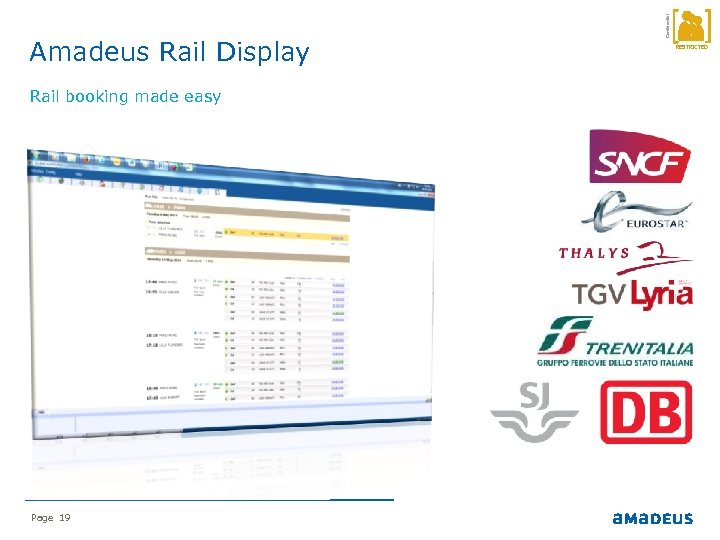 Rail booking made easy Page 19 Confidential Amadeus Rail Display RESTRICTED