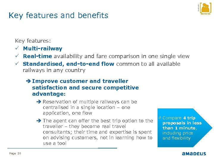 Confidential Key features and benefits RESTRICTED Key features: P Multi-railway P Real-time availability and