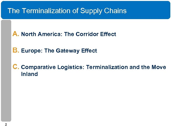 The Terminalization of Supply Chains A. North America: The Corridor Effect B. Europe: The