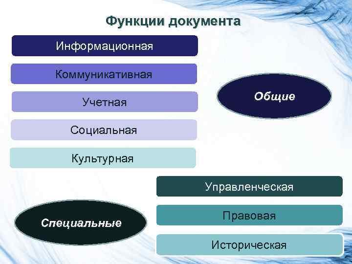Функции документа Информационная Коммуникативная Учетная Общие Социальная Культурная Управленческая Специальные Правовая Историческая