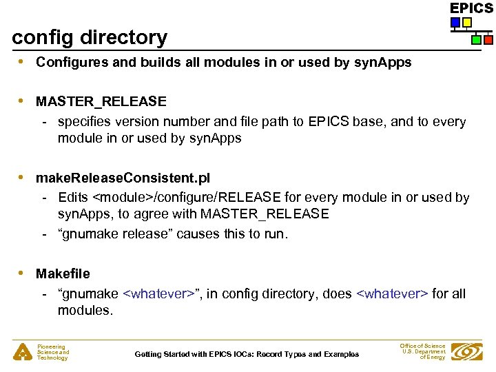 config directory • Configures and builds all modules in or used by syn. Apps