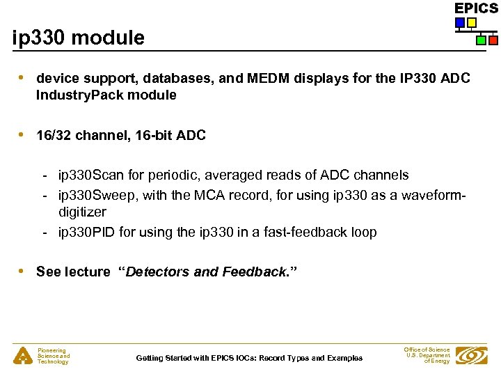 ip 330 module • device support, databases, and MEDM displays for the IP 330