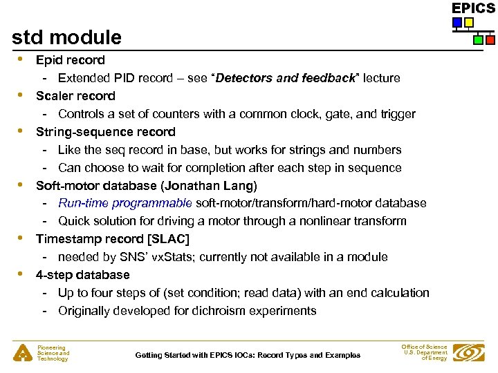 """std module • • • Epid record - Extended PID record – see """"Detectors"""