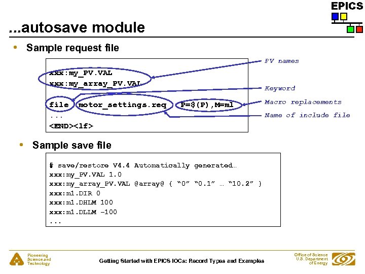 . . . autosave module • Sample request file PV names xxx: my_PV. VAL