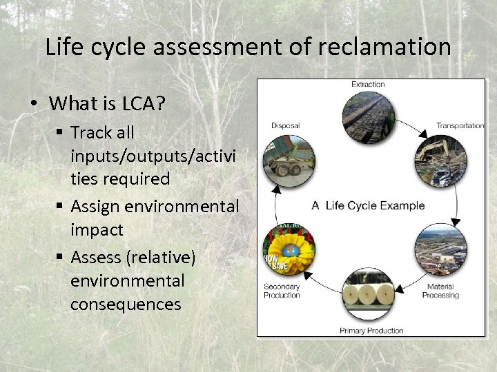 Life cycle assessment of reclamation • What is LCA? § Track all inputs/outputs/activi ties