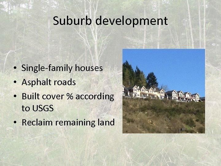 Suburb development • Single-family houses • Asphalt roads • Built cover % according to