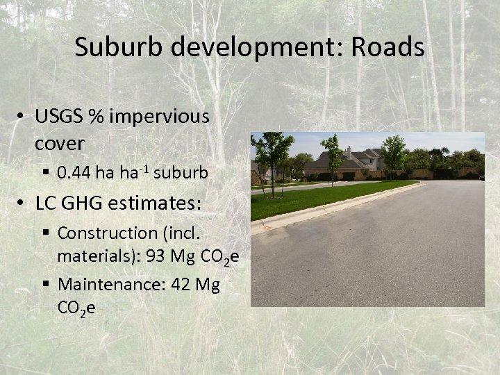 Suburb development: Roads • USGS % impervious cover § 0. 44 ha ha-1 suburb