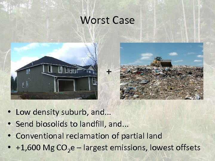 Worst Case + • • Low density suburb, and. . . Send biosolids to