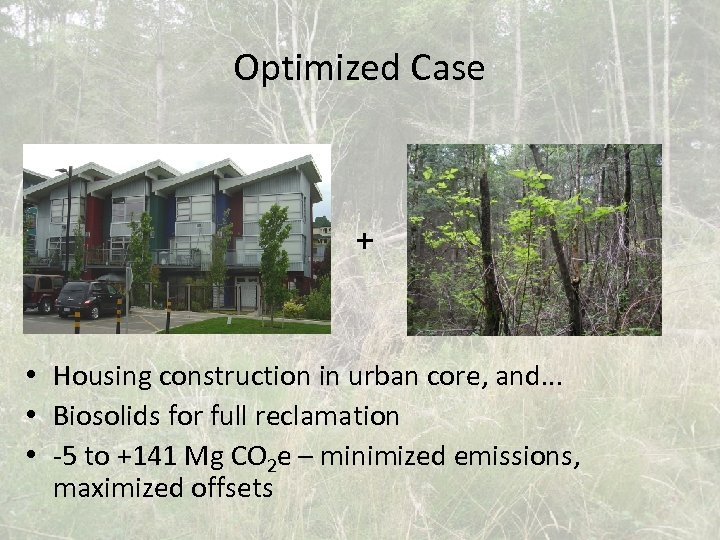 Optimized Case + • Housing construction in urban core, and. . . • Biosolids