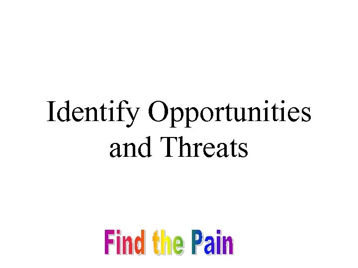 Identify Opportunities and Threats