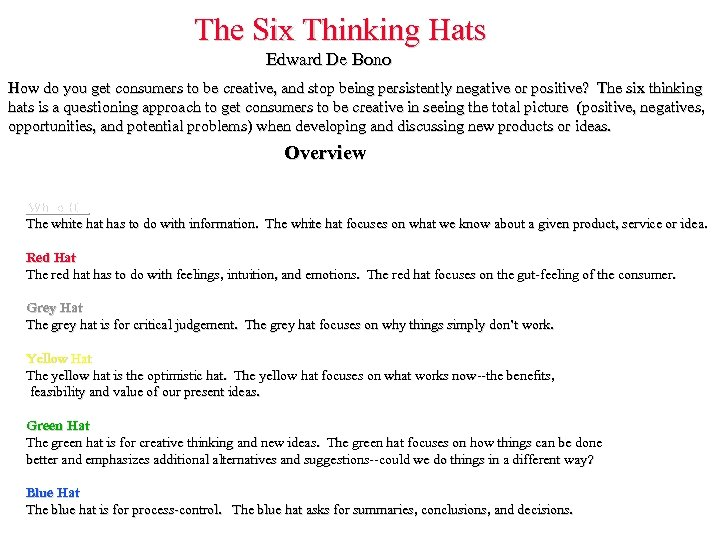 The Six Thinking Hats Edward De Bono How do you get consumers to be
