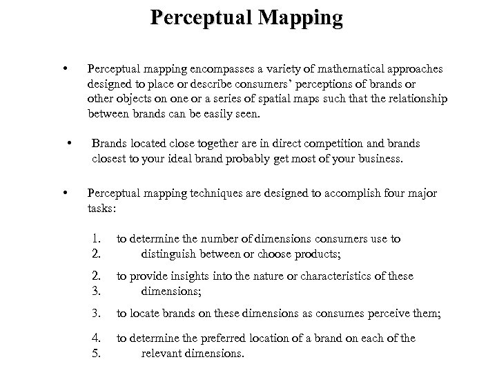 Perceptual Mapping • • • Perceptual mapping encompasses a variety of mathematical approaches designed