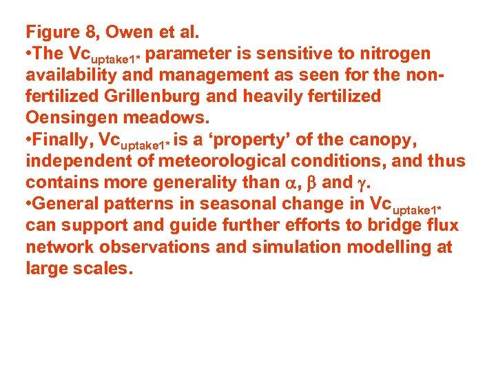 Figure 8, Owen et al. • The Vcuptake 1* parameter is sensitive to nitrogen