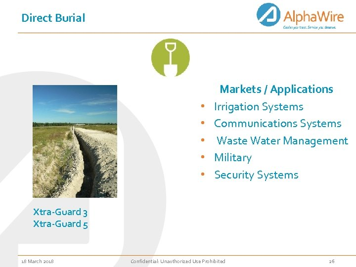 Direct Burial • • • Markets / Applications Irrigation Systems Communications Systems Waste Water