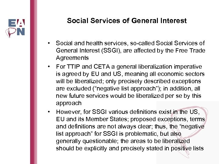 Social Services of General Interest • Social and health services, so-called Social Services of
