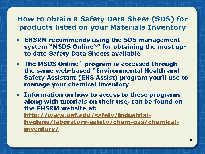How to obtain a Safety Data Sheet (SDS) for products listed on your Materials