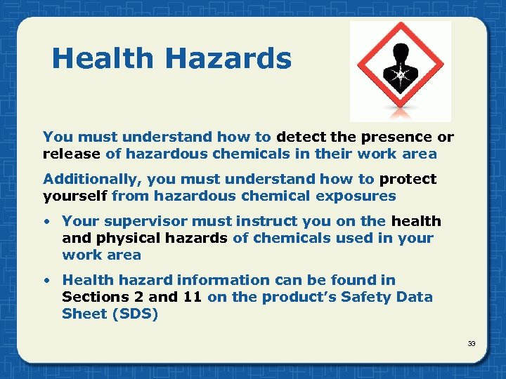 Health Hazards You must understand how to detect the presence or release of hazardous