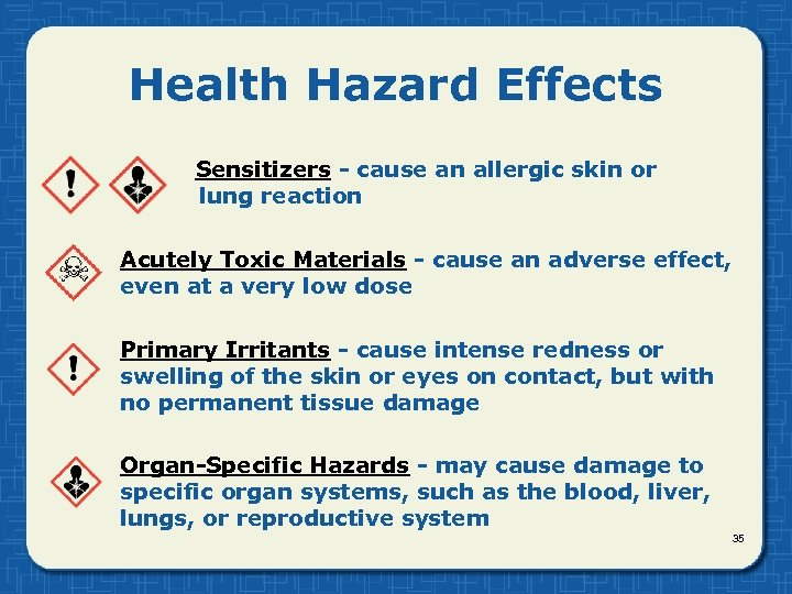 Health Hazard Effects Sensitizers - cause an allergic skin or lung reaction Acutely Toxic