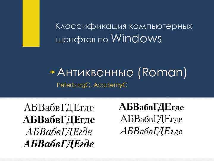 Классификация компьютерных шрифтов по Windows Антиквенные (Roman) Peterburg. C, Academy. C