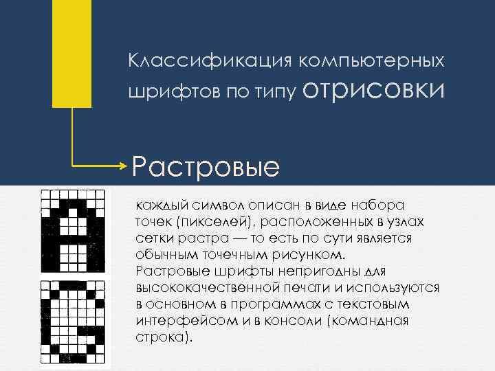 Классификация компьютерных шрифтов по типу отрисовки Растровые каждый символ описан в виде набора точек