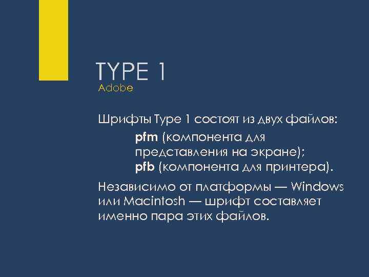 TYPE 1 Adobe Шрифты Type 1 состоят из двух файлов: pfm (компонента для представления
