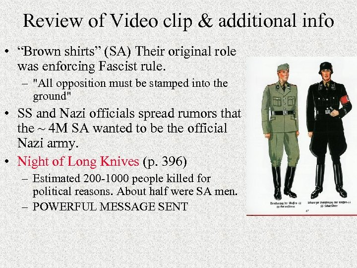 """Review of Video clip & additional info • """"Brown shirts"""" (SA) Their original role"""