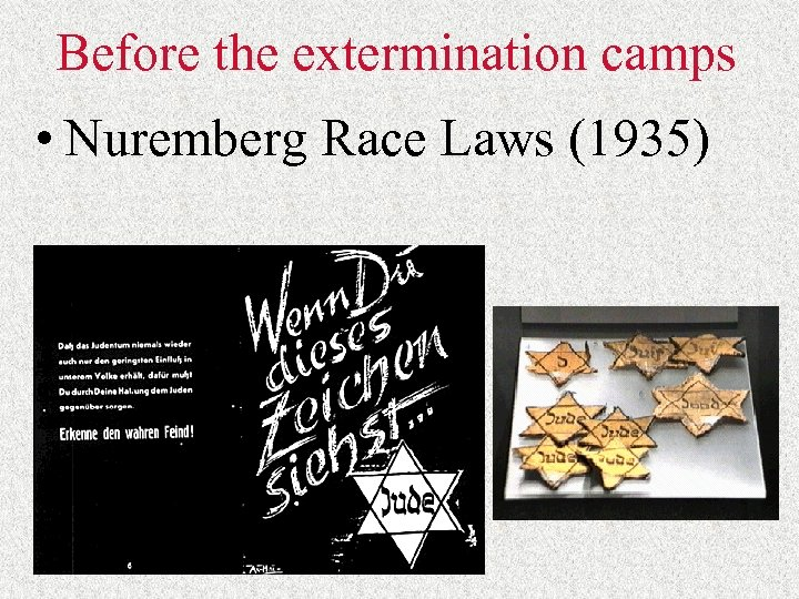 Before the extermination camps • Nuremberg Race Laws (1935)