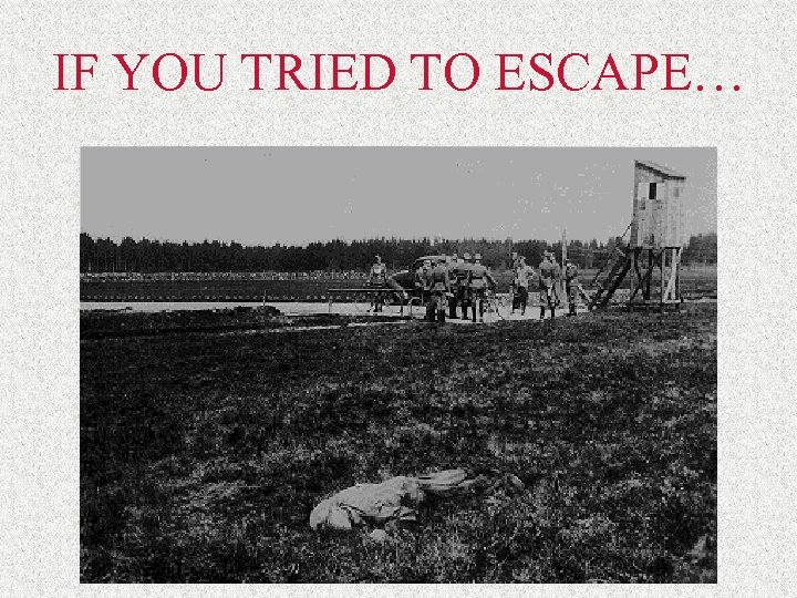 IF YOU TRIED TO ESCAPE…