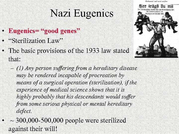 "Nazi Eugenics • Eugenics= ""good genes"" • ""Sterilization Law"" • The basic provisions of"