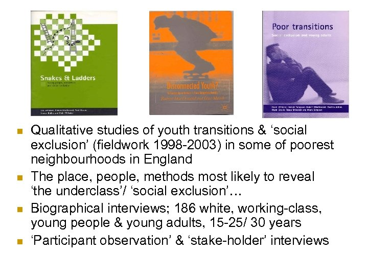 n n Qualitative studies of youth transitions & 'social exclusion' (fieldwork 1998 -2003) in