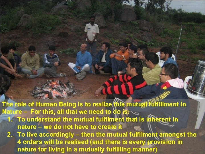 The role of Human Being is to realize this mutual fulfillment in Nature –