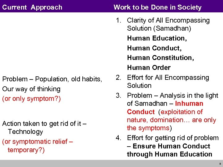 Current Approach Problem – Population, old habits, Our way of thinking (or only symptom?