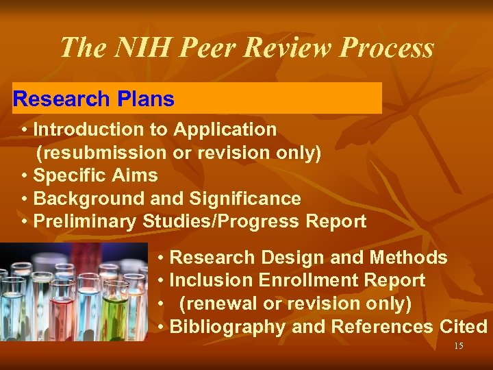 The NIH Peer Review Process Research Plans • Introduction to Application (resubmission or revision