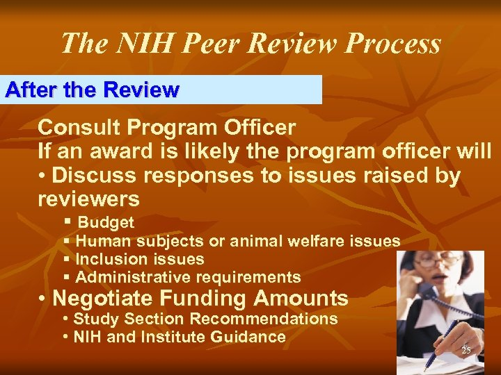 The NIH Peer Review Process After the Review Consult Program Officer If an award
