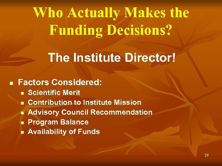 Who Actually Makes the Funding Decisions? The Institute Director! n Factors Considered: n n