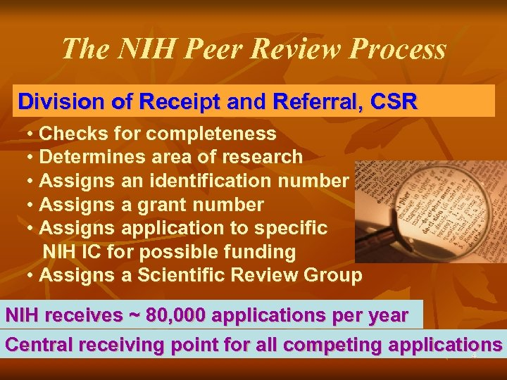 The NIH Peer Review Process Division of Receipt and Referral, CSR • Checks for