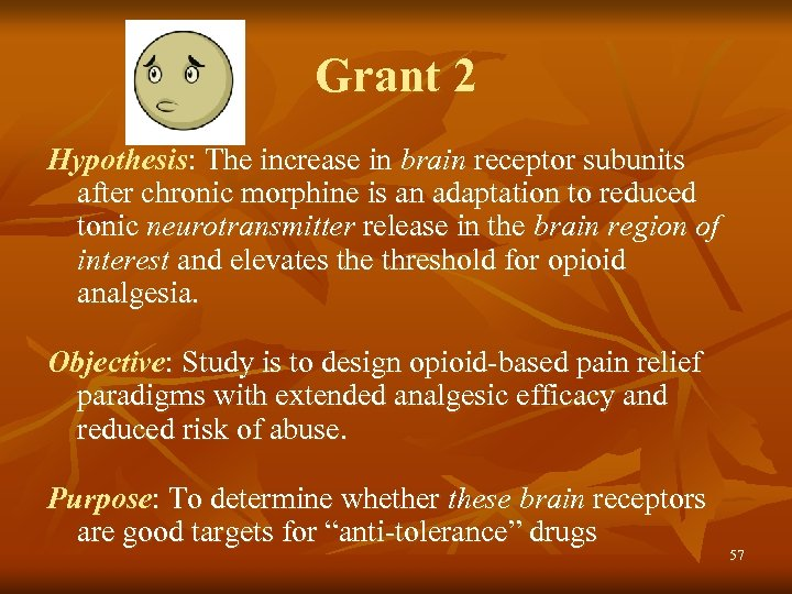 Grant 2 Hypothesis: The increase in brain receptor subunits after chronic morphine is an