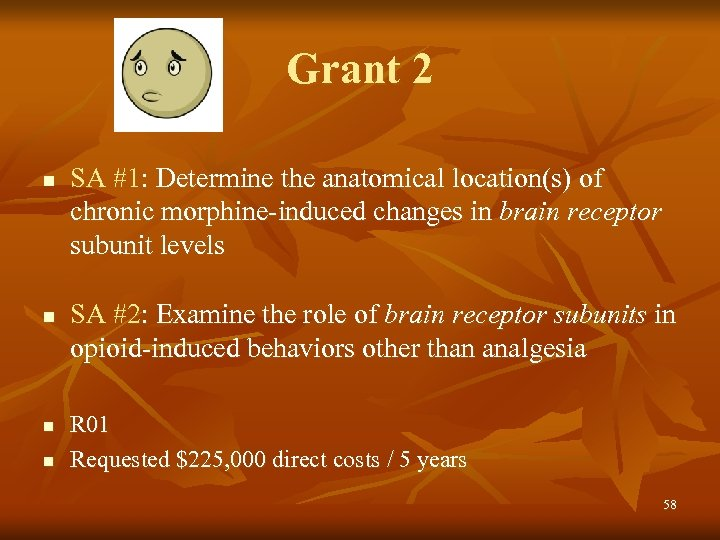 Grant 2 n n SA #1: Determine the anatomical location(s) of chronic morphine-induced changes